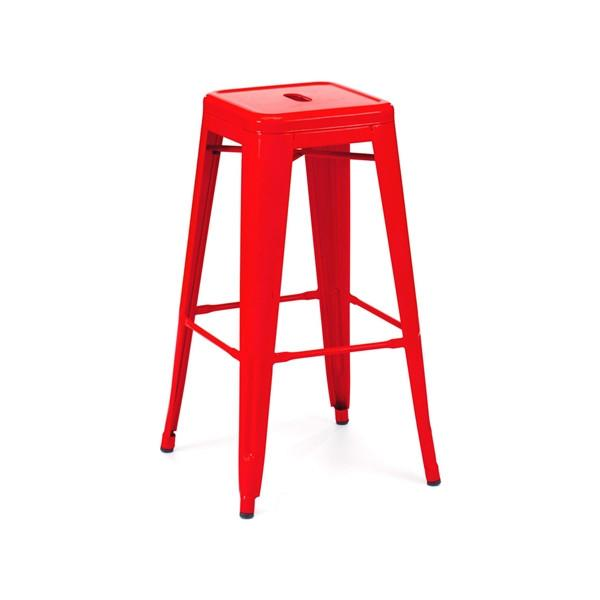 Amalfi Stackable Powder Coat Red Steel Barstool Set of 4
