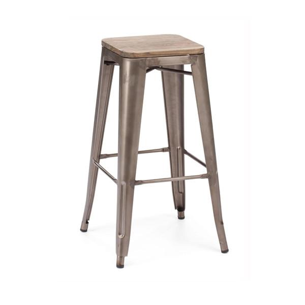 Amalfi Stackable Rustic Matte Elm Wood Seat Steel Barstool Set of 4