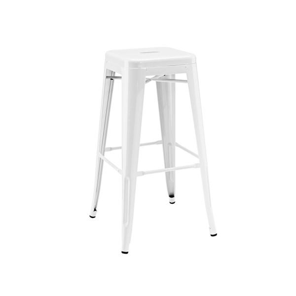 "Dreux Stackable Glossy White Steel Barstool 30"" (Set of 4)"