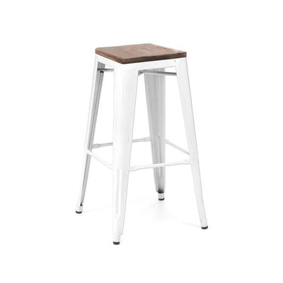Amalfi Stackable Powder Coat White Elm Wood Seat Steel Barstool Set of 4