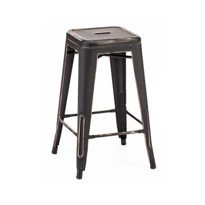Dreux Vintage Matte Black + Gold Steel Stackable Counter Stool (Set of 4)