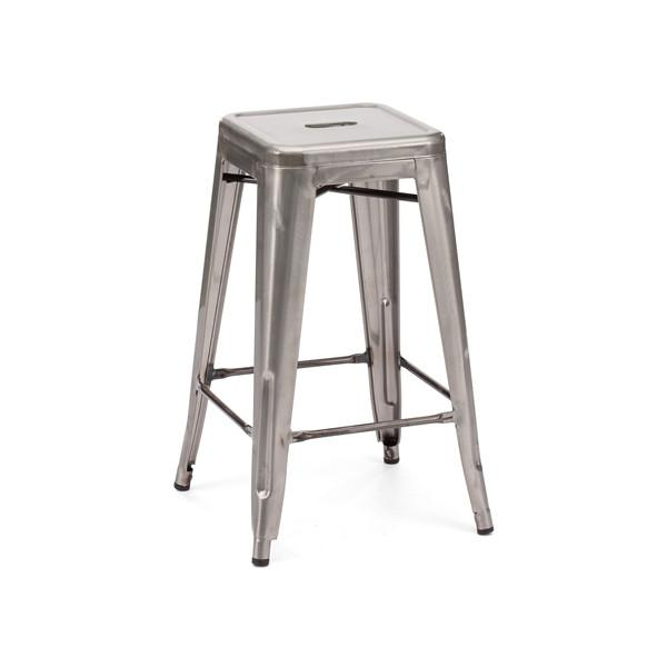 Dreux Clear Gunmetal Steel Stackable Counter Stool (Set of 4)