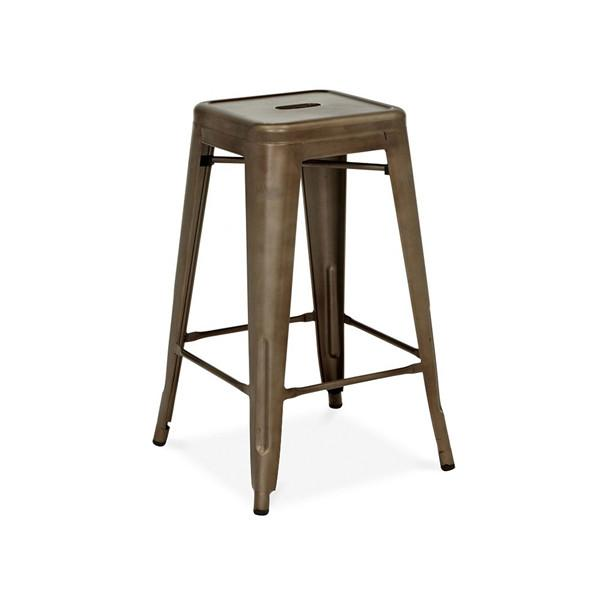 Dreux Rustic Matte Gunmetal Steel Stackable Counter Stool (Set of 4)