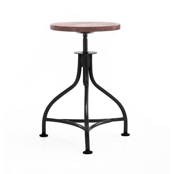 "Pub Industrial Black + Wood Seat Barstool 17.7"" - 21.7"" (Set of 2)"
