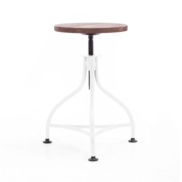 "Pub Industrial White + Wood Seat Barstool 17.7"" - 21.7"" (Set of 2)"