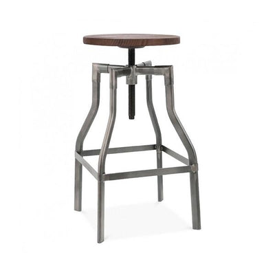 "Machinist Gunmetal + Wood Seat Adjustable Barstool 26""-32"""