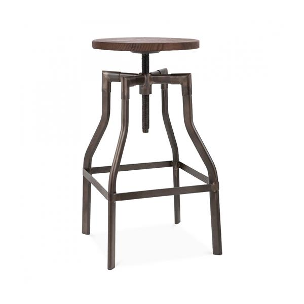 "Machinist Rustic + Wood Seat Adjustable Barstool 26""-32"""