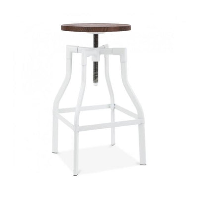 "Machinist White + Wood Seat Adjustable Barstool 26""-32"""