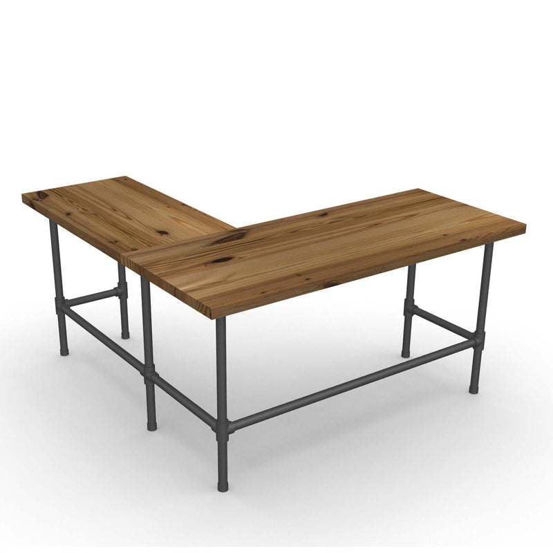 Modern Industry L Shape Reclaimed Wood Desk
