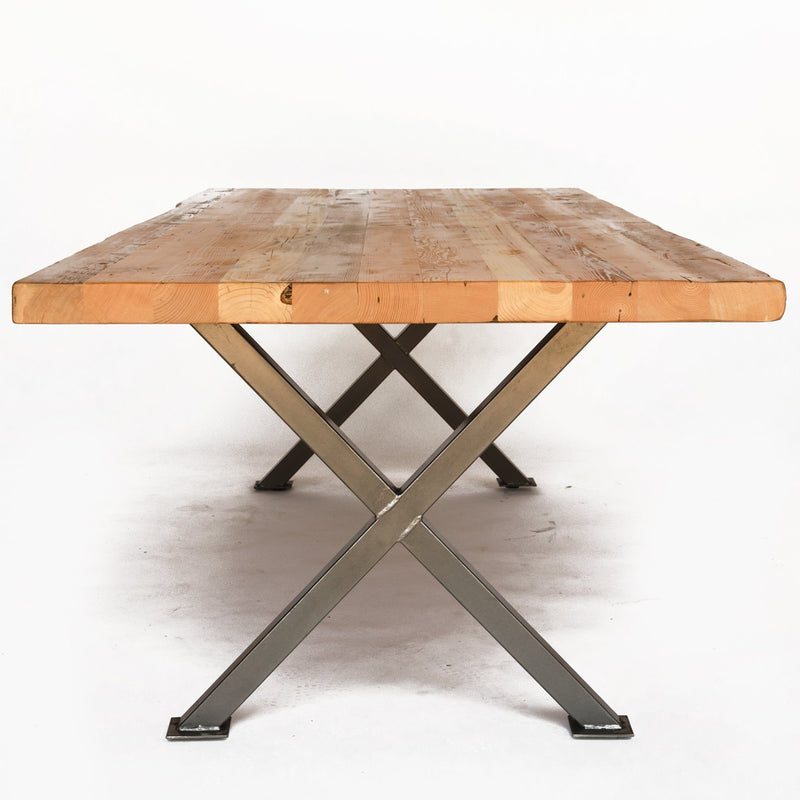 Industrial Modern X Frame Reclaimed Wood Dining Table