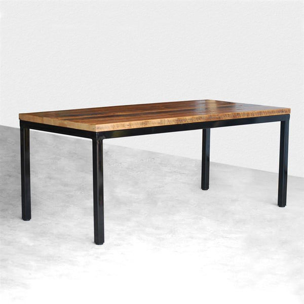 steel parsons reclaimed wood dining table - Wood Dining Table Round