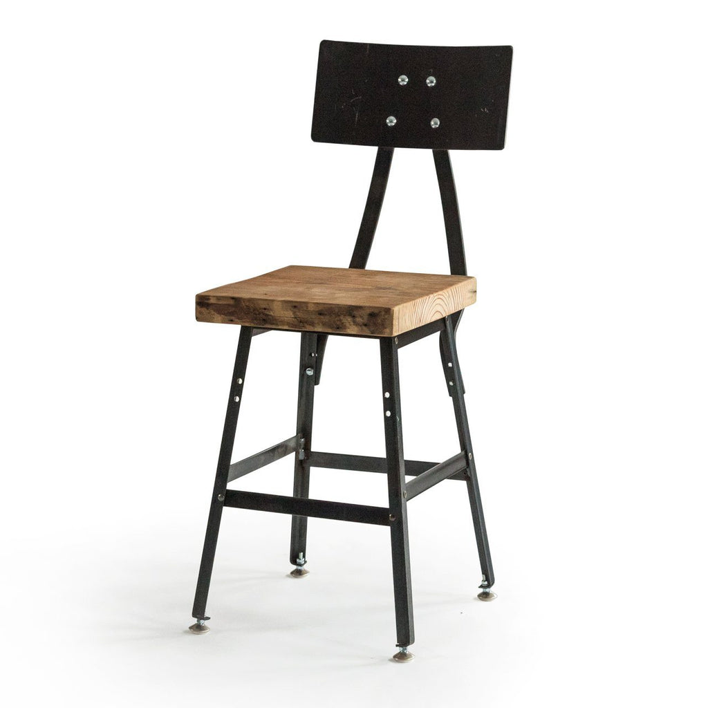 Picture of: Urban Design Reclaimed Wood Bar Stool With Steel Back