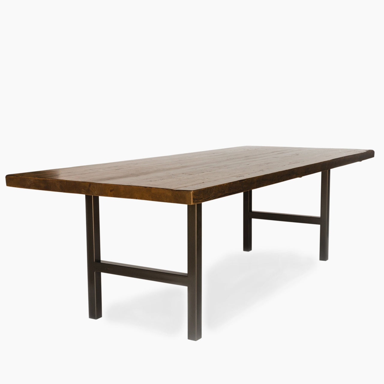 Urban Wood & Steel Dining Table with Narrow Base Style