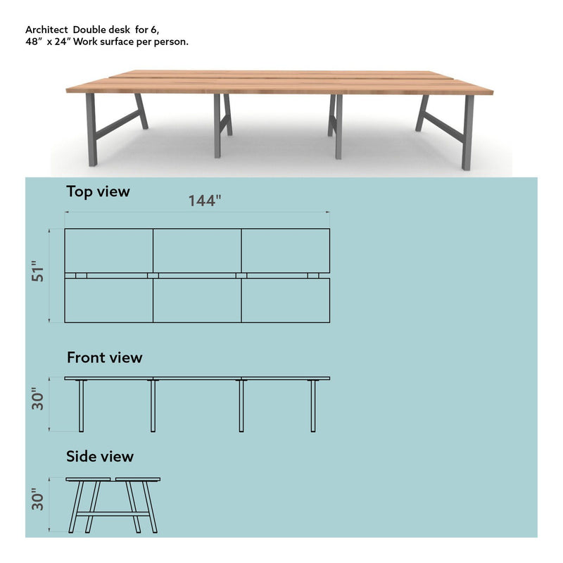 Architect Double Desk for 6