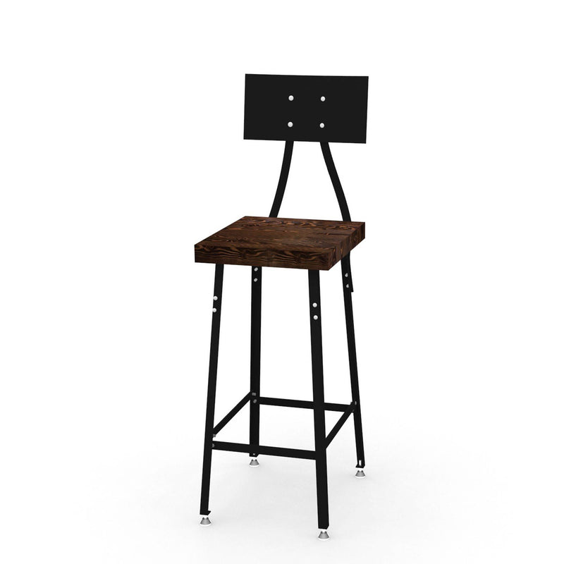 Urban Design Reclaimed Wood Bar Stool with Steel Back