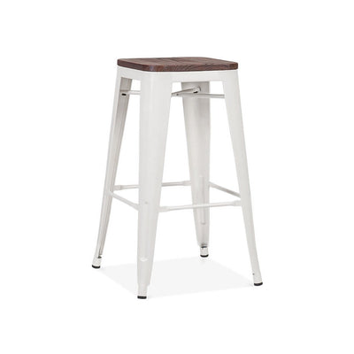 Dreux Glossy White Elm Wood Steel Stackable Counter Stool 26 Inch (Set of 4)