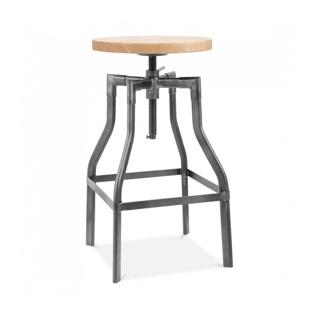 Machinist Dark Gunmetal Adjustable Steel Barstool Ash Wood Seat 26 - 32 Inch