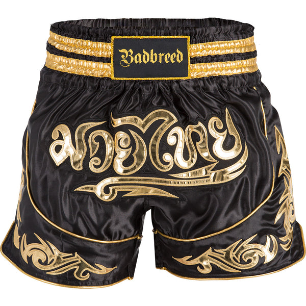 "BADBREED Python Polyester Muay Thai Trunks - Black Edition : Small {30""} <