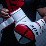 RDX F7 Ego Boxing Gloves - Red : Action Shot