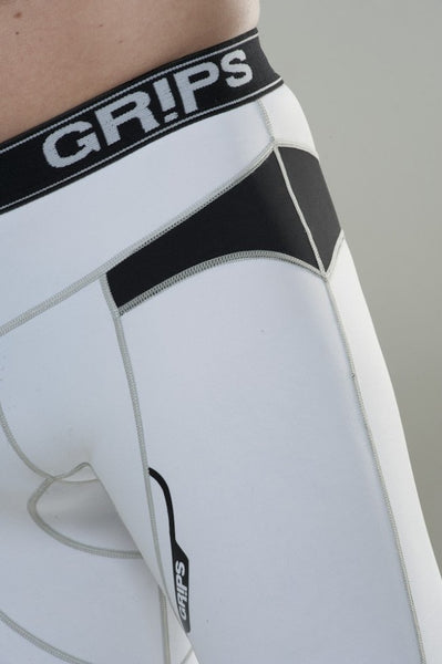 GRIPS Hot Muscle Compression Shorts - White [BACK ORDER]