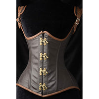 Brown Steampunk Leather Corselette