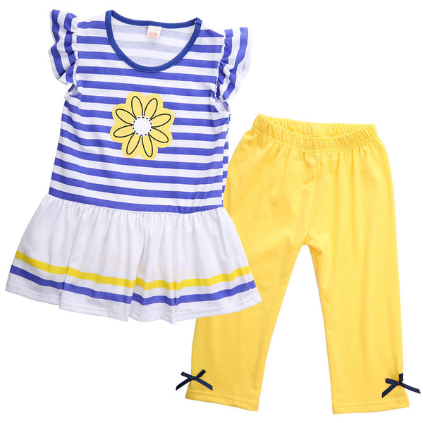 2 Piece Set: Striped Top + Bow Pants