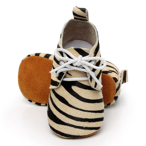 Genuine Suede Soft Sole Baby Lace Ups (Zebra)