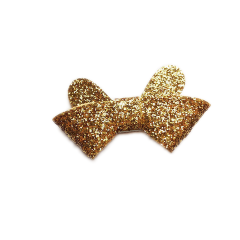 Glittery Bow Hair Clip (Gold)