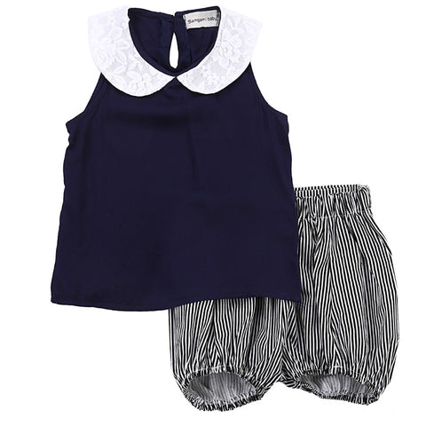 2 Piece Set: Lace Collar Top + Striped Shorts