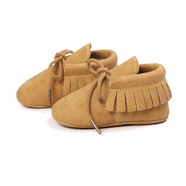 Lace Up  Fringe Baby Moccasins