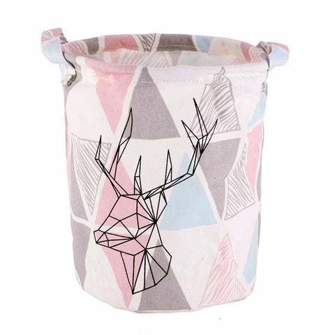 Small Geometric Deer Canvas Storage Basket