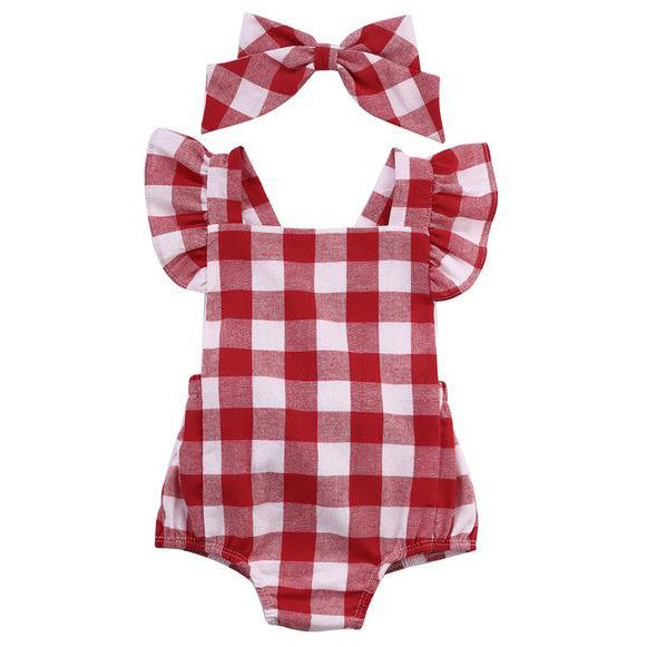 2 Piece Set: Red Gingham Romper & Headband