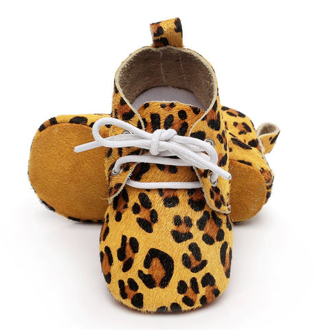 Genuine Horse Hair Soft Sole Baby Lace Ups (Cheetah)