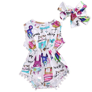 2 Piece Set: Cute Critters Sleeveless Pom Pom Romper + Headband