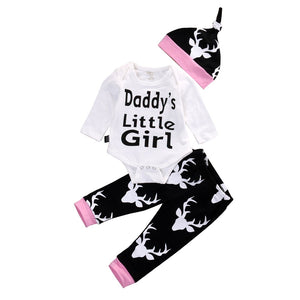 3 Piece Set: Daddy's Little Girl Deer Romper +Long Pants + Hat