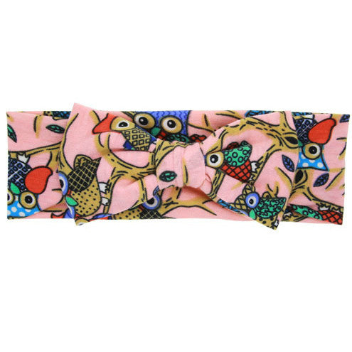 The Riley Headband (Pink Owl)