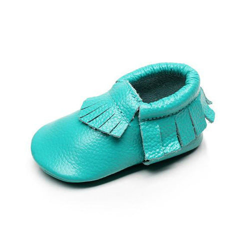 Genuine Leather Soft Sole Fringe Baby Moccasins