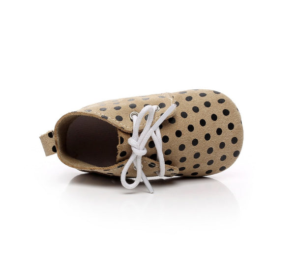 Genuine Suede Soft Sole Baby Lace Ups (Polka Dot)