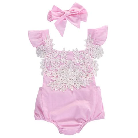 2 Piece Set: Pink Lace Floral Bodysuit