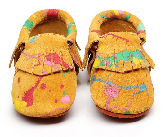 New Graffiti Tassel Suede Genuine leather Moccasins