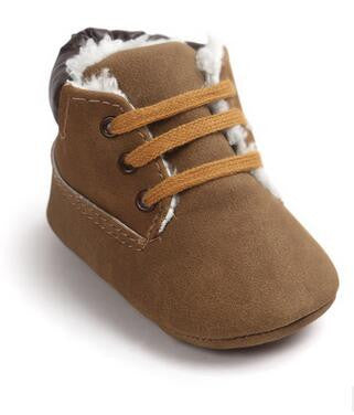Baby Soft Sole Fur High Top Slip Ons