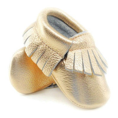 Genuine Leather Metallic Baby Moccasins (16 Stunning Colors)