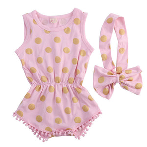2 Piece Set: Gold Polka Dot Pom Pom Trim Romper & Headband (Pink)
