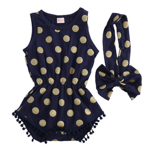 2 Piece Set: Gold Polka Dot Pom Pom Trim Romper & Headband (Navy)