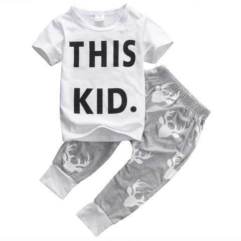 2 Piece Set: This Kid Tee + Deer Pants
