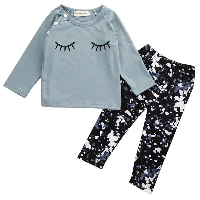 2 Piece Set: Eyelashes Top + Printed Legging Pants