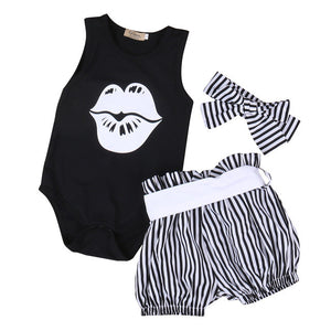 3 Piece Set: Sleeveless Bodysuit +Striped Bloomers Bottom + Headband