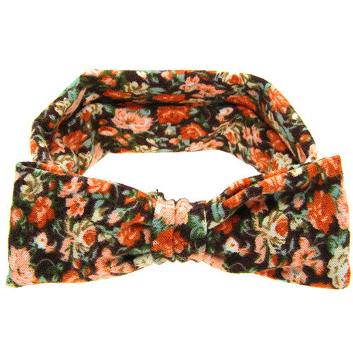 The Sophia Headband (Orange Floral)