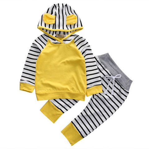 2 Piece Set: Bear Ears Hooded Jacket + Striped Pants