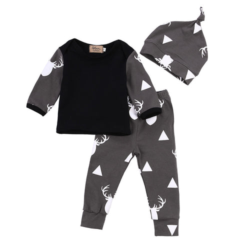 3 Piece Set: Deer Top, Legging Pants, & Hat